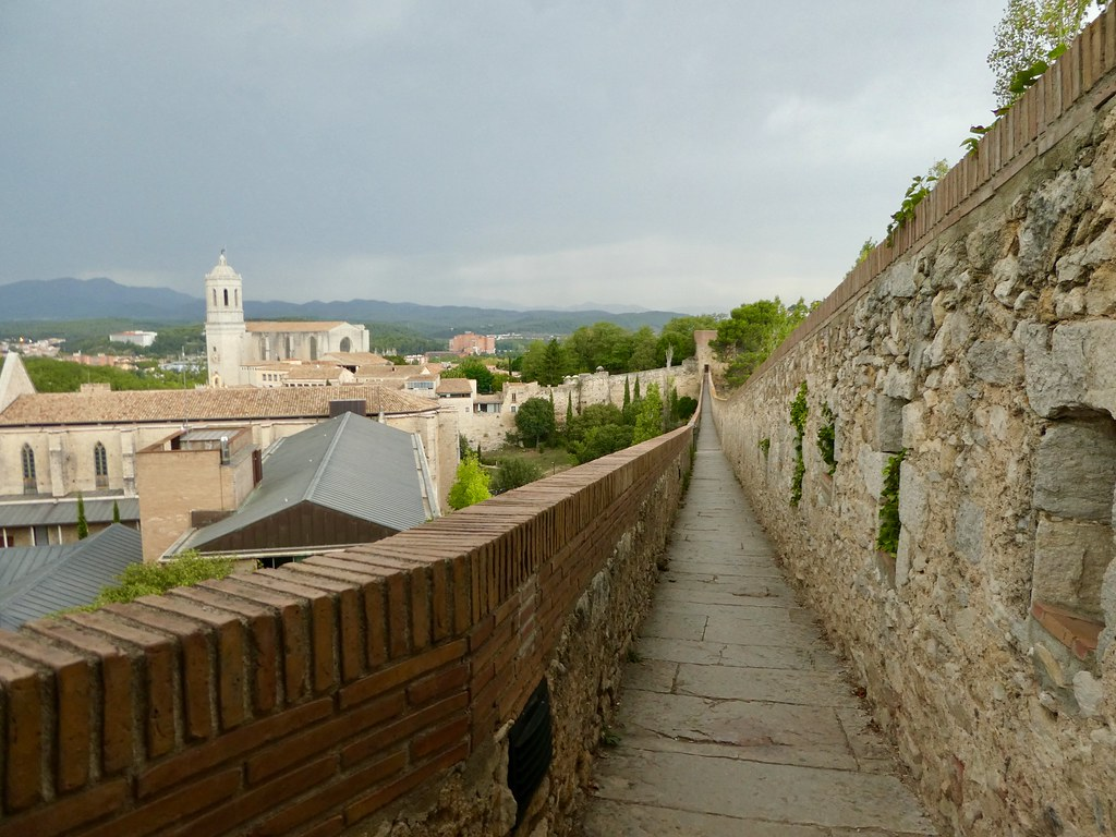 Walking along the old city walls in Girona