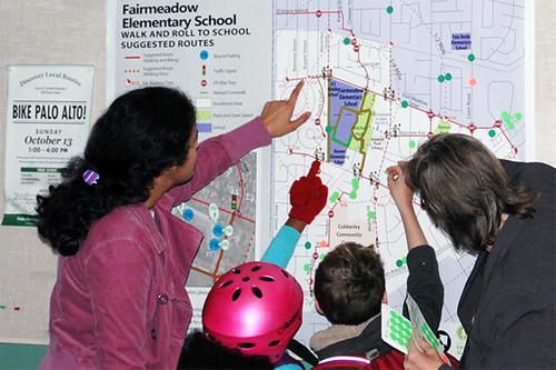 Fairmeadow Elementary School Walk to School Map as a poster, Palo Alto