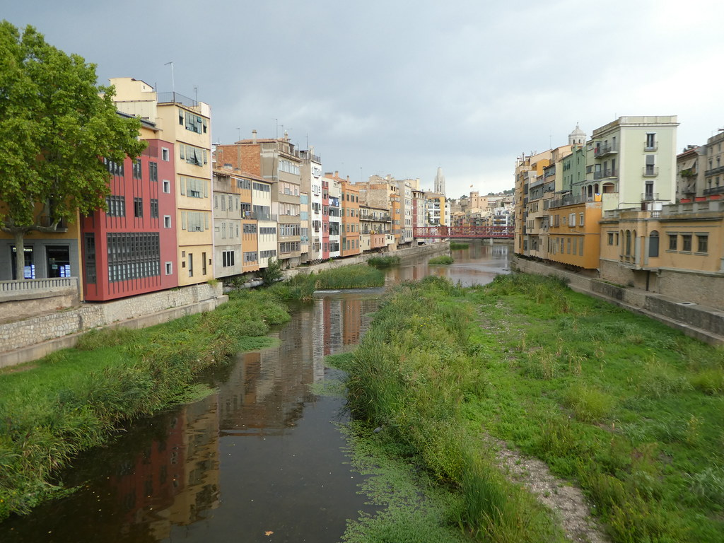 Crossing the River Onyar in Girona