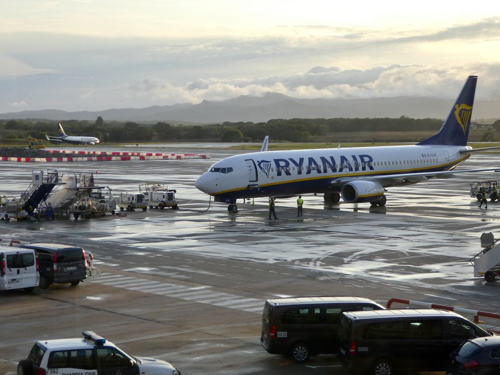 Ryanair aircraft at Girona Airport
