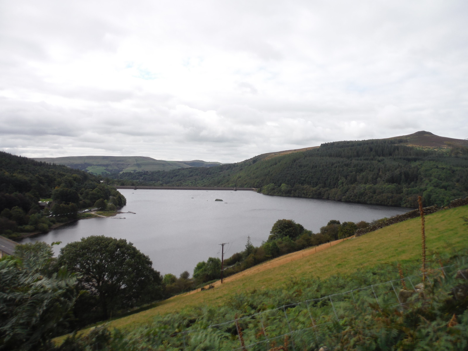 View from Flank of Lead Hill across Ladybower Reservoir to its dam (Win Hill on right) SWC Walk 348 - Ladybower Inn Circular (via Derwent Edges and Strines)