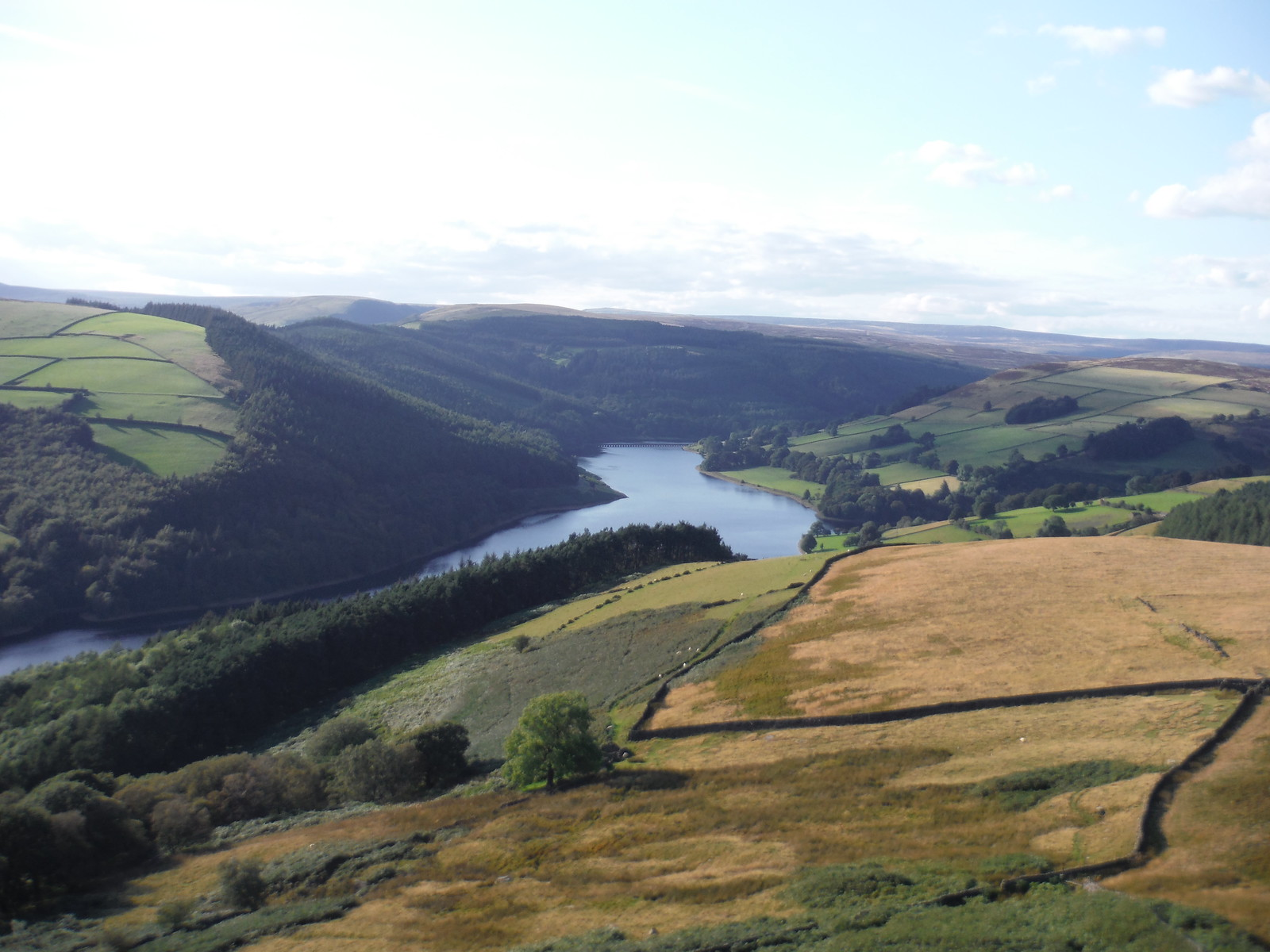 Evening View up Ladybower Reservoir, from Viewpoint by Six-Way Junction SWC Walk 348 - Ladybower Inn Circular (via Derwent Edges and Strines)