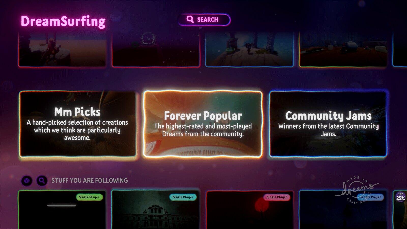 Dreams - UI update