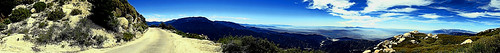 sanbernardinonationalforest arrowbear kellerpeak california landscape panorama mountains haze road backroad boulders