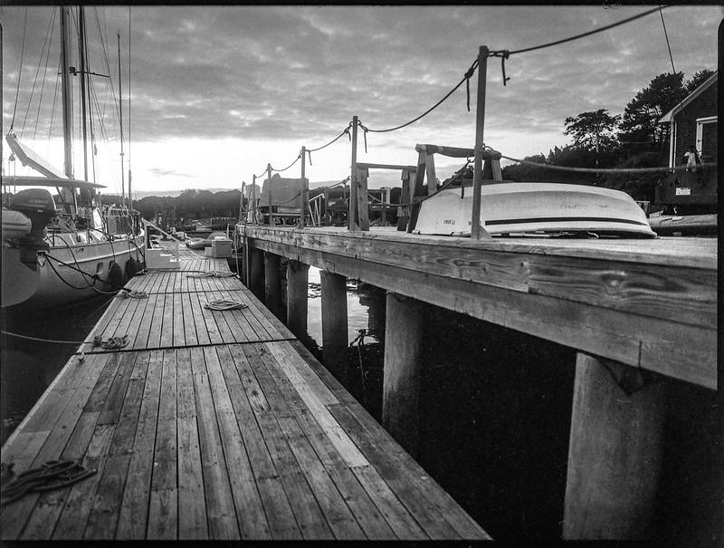 dusk, dockside, harbor, Thomaston, Maine, Mamiya 645 Pro, mamiya sekor 45mm f-2.8, Bergger Pancro 400, HC-110 developer, 9.13.19