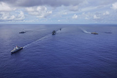 The Republic of Singapore Navy's RSS Formidable (68) leads a formation of ships including USS Gabrielle Giffords (LCS 10), USS Momsen (DDG 92), RSS Intrepid (69) and USNS Amelia Earhart (T-AKE 6) to kick of exercise Pacific Griffin, Sept. 30. (U.S. Navy/MC2 Christopher Veloicaza)