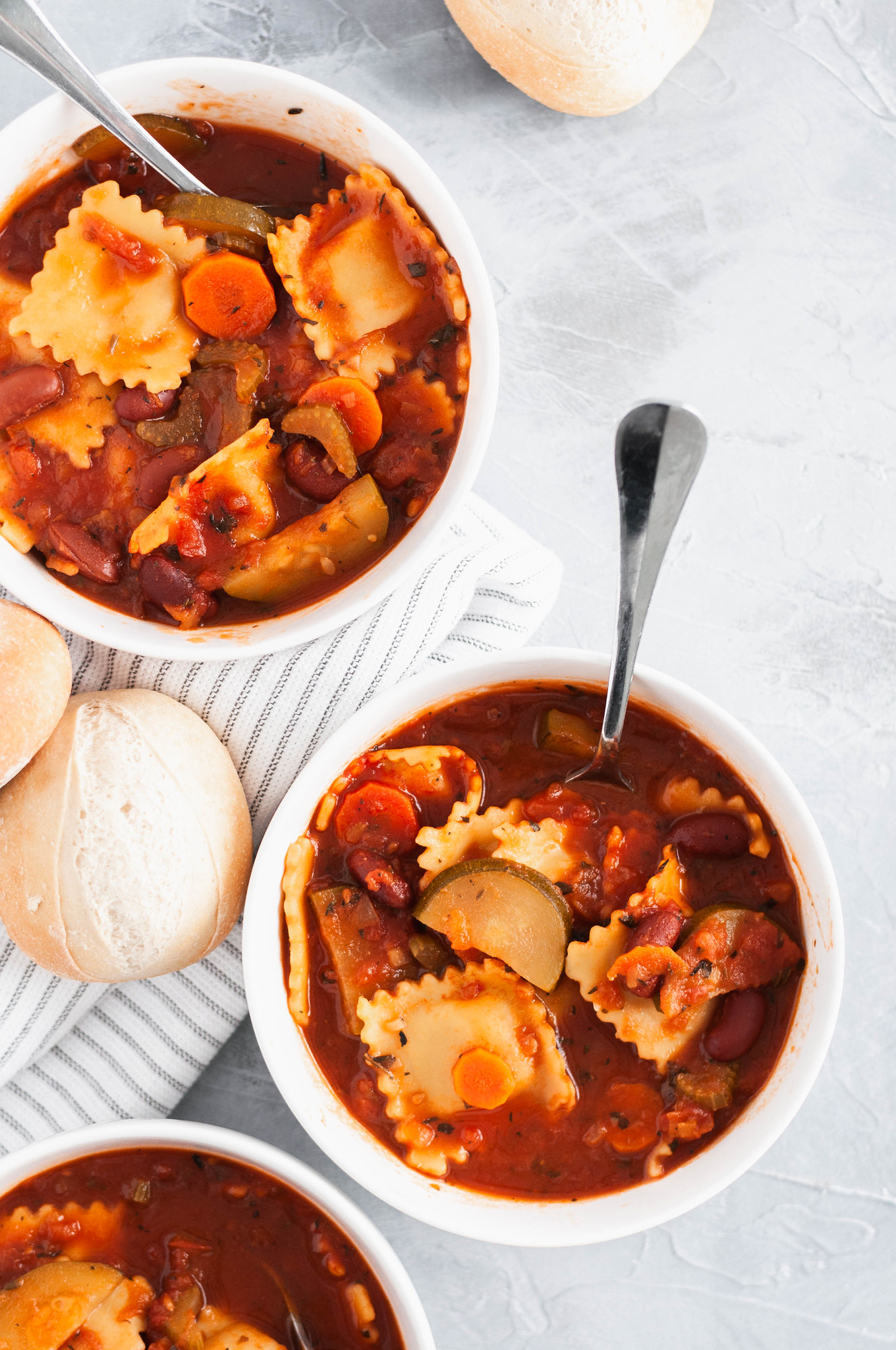 This hearty, filling Minestrone Soup with Cheese Ravioli is a fun twist on a classic soup. Vegetarian, family friendly and only 30 minutes needed.