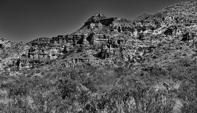Red Rock Formations and a Backdrop with Emery Peak (Black & White, Big Bend National Park)