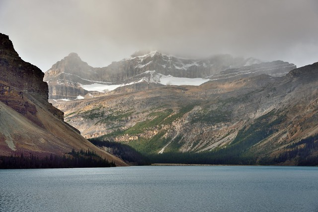 A View Across Bow Lake to Peaks of Mount Thompson and Wapta Icefield Range (Banff National Park)