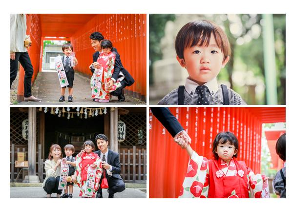 双子の兄弟の七五三 深川神社(愛知県瀬戸市) 家族の記念写真 赤い鳥居