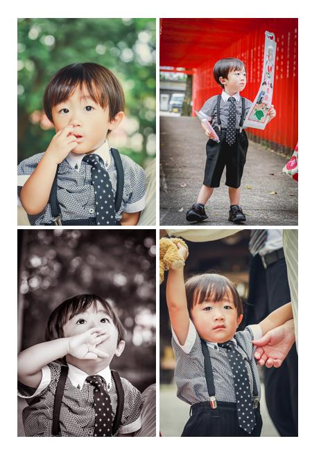 3歳の男の子の七五三 神社の赤い鳥居 千歳飴