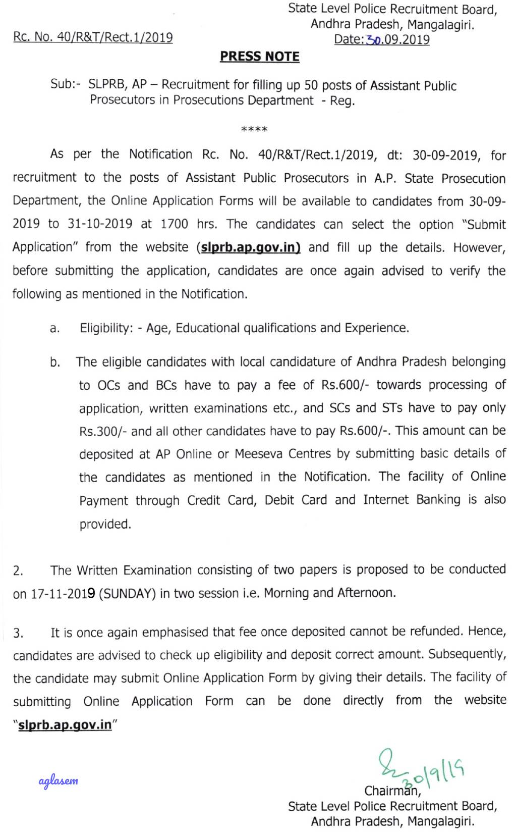 Assistant Public Prosecutor Notification 2019 in AP for 50 Vacancies out, Apply online before Oct 31 @ slprb.ap.gov.in