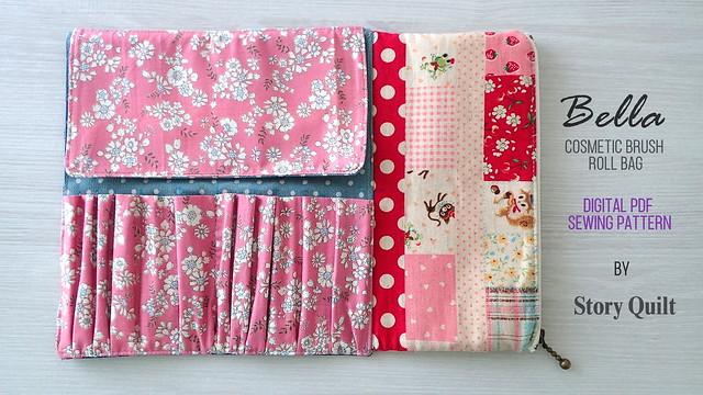 Bella makeup brush roll bag digital pdf sewing pattern