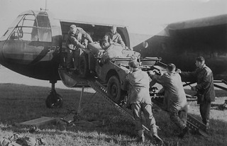 Loading a jeep into a Horsa Mk II glider during  training at an airfield in the UK 1944.