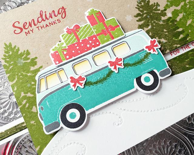 LizzieJones_TheGreetery_October2019_ChristmasCareAVan_DriftingDie_Fir&Foliage2_SendingMyThanksSliderCard3