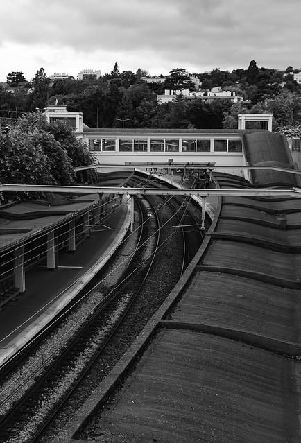 perspective de rail n&b