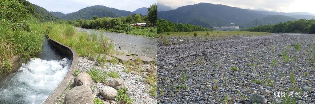 6_(左)中遊有多處取水口供應千頃良田灌溉,或其他工業用水。(右)但過了台九線以東的下游5公里處,水量驟減下常常乾涸不成河。