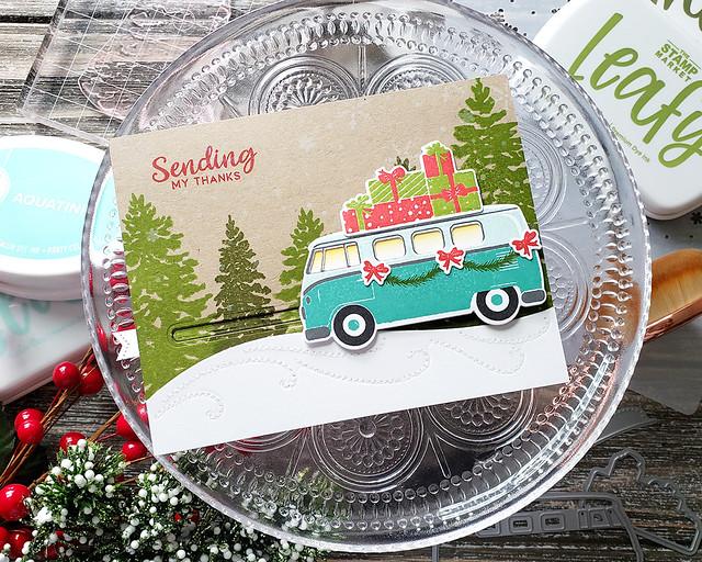LizzieJones_TheGreetery_October2019_ChristmasCareAVan_DriftingDie_Fir&Foliage2_SendingMyThanksSliderCard