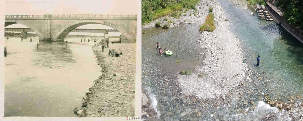 4_新城溪除了供水,與宜蘭人休憩生活一直密不可分。(左)民國四十年代武荖坑橋下遊人澡浴一景--蘇澳鎮公所提供。引自「宜蘭人文之是數位資料庫。