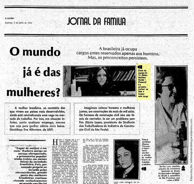 acervo digital jornal O Globo matérias reportagens digitalizadas sociologia USP mulheres em cargos de chefia ONU política movimento feminista brasileira brasileiras trabalho trabalhadoras ciência conquistas feministas cientistas cientista e deputada federal Bertha Lutz