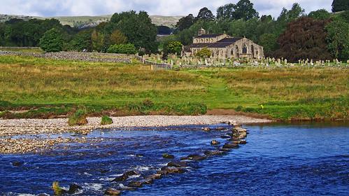 wednesdaywalk wharfedale river wharfe dales way grassington stepstones stepping stone stones lynton church landscape yorkshire linton