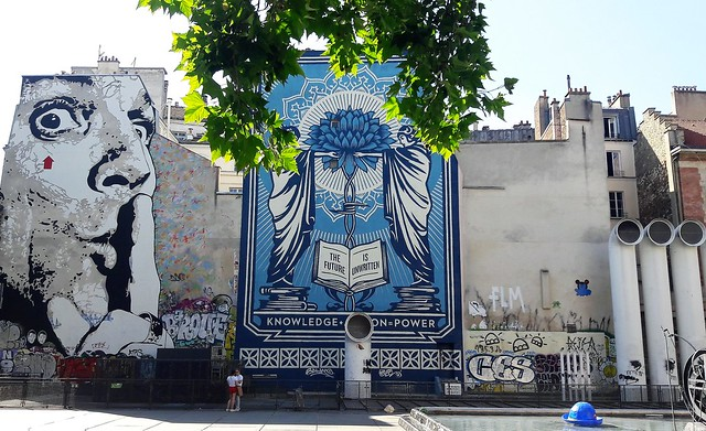 Street art by Jef Aerosol + Shepard Fairey/Obey  in Paris 4th