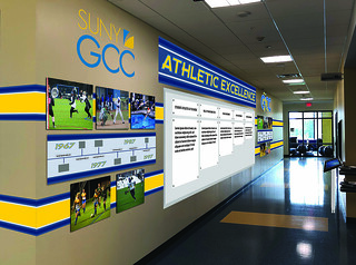 Tue, 09/24/2019 - 17:47 - A photograph of the rendering of GCC's proposed Athletic Hall of Fame