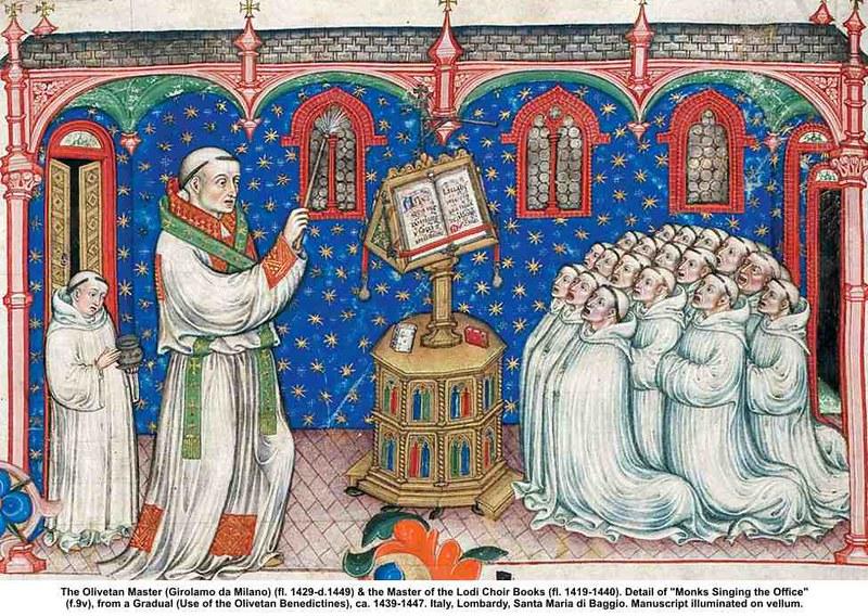 19 Монахи, поющие правило Бенедиктинский градуал XV в. Милан