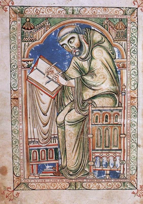17 Монах Эдвин за иллюстрацией Псалтири Манускрипт из Кентербери XII в