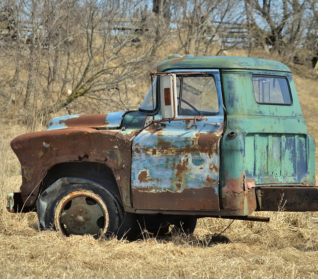 Abandoned Chevy farm truck hulk, Simcoe County, Ontario.