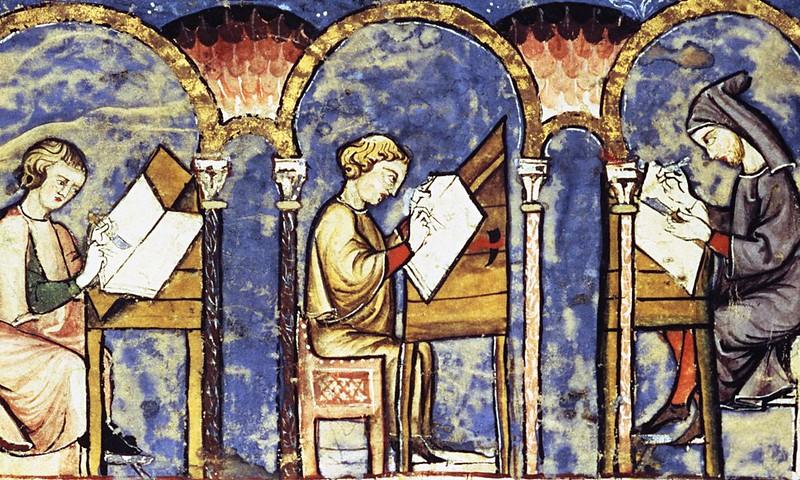 16 Монахи - переписчики книг. Рукопись 12 в.