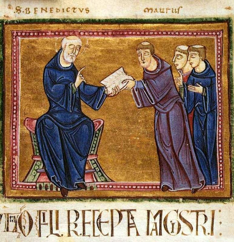 10 Св. Бенедикт дает монахам устав Рукопись 1129 г