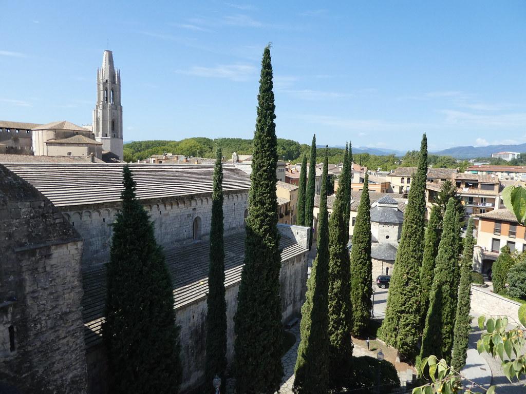 Walking along the old city walls in Girona