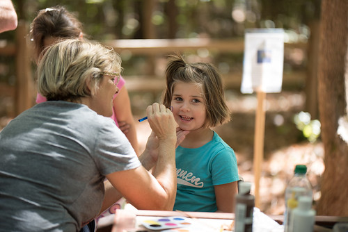 A girl getting her face painted.