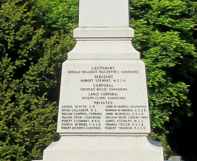 Names, Auchencairn War Memorial