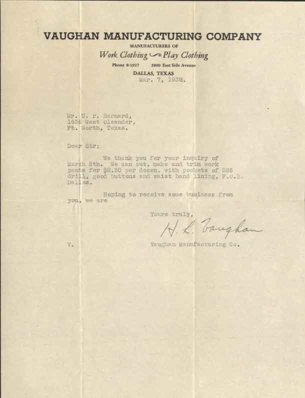 Letter to Upton Barnard