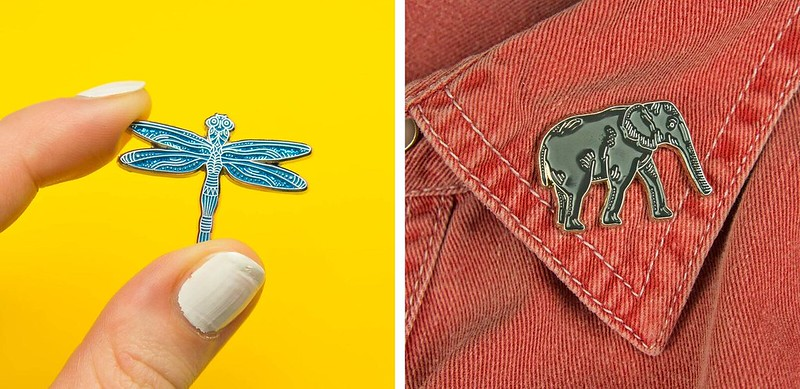 Darwin designs dragonfly and elephant enamel pin