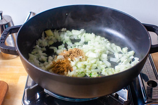 onion, garlic, cumin, coriander