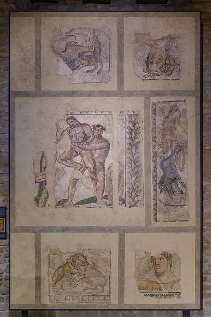 mosaïque d'Hercule et Antée, musée romain, Avenches