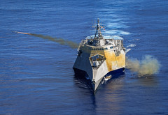 USS Gabrielle Giffords (LCS 10) launches a Naval Strike Missile (NSM), Oct. 1. (U.S. Navy/MCC Shannon Renfroe)
