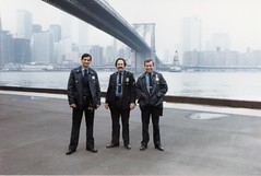 053_53 Jack Cottone, Sgt. Rich Pra, PO. Terry Colwell under the Brooklyn Bridge 1980's
