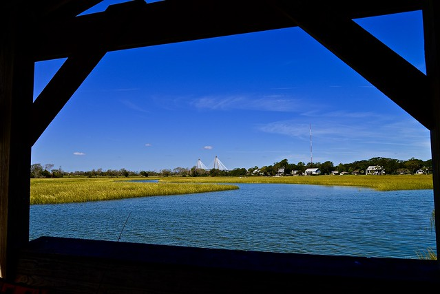 View of Arthur Ravenel Jr. Bridge from Shem Creek Dock - Mount Pleasant SC