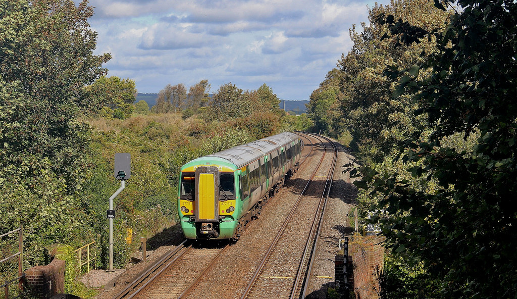 377118, Electrostar unit forming up Southern service passing through Amberley, 28th. September 2019 by Crewcastrian