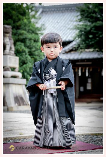 七五三 3歳の男の子 黒の羽織袴