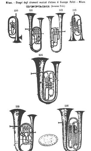 Bombardino Doble Campana Bombardino de Dos Campanas Double Bell Euphonium Duplex de Pelitti catálogo 1873