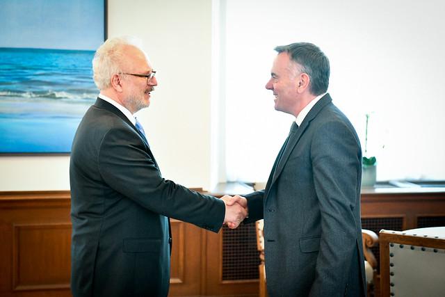 Valsts prezidents Egils Levits tiekas ar Eiropas raidorganizāciju apvienības (EBU) ģenerāldirektoru Noelu Kurranu (Noel Curran)