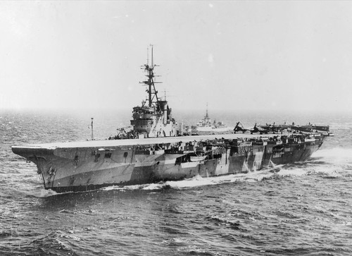 HMS Glory (R62) with HMS Wizard (R72) in  the Pacific august 1945.