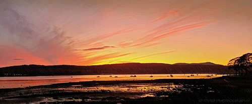 rosneathpeninsula helensburgh scotland autumn sunset hills water gareloch sea sky clouds vivid colour outdoor nature sundown shore boats marine shoreline landscape art artwork