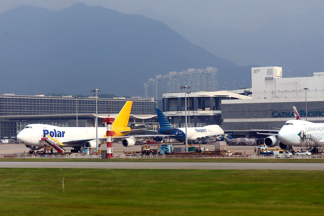 Nippon Cargo Airlines (opby Atlas Air) B747-400F N508KZ parked at HKG/VHHH