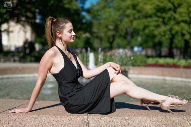 Sinba in a black dress, Riga, Latvia, 2017-06-19